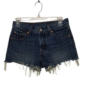LEVI'S blue 501 button fly cut off shorts size 25